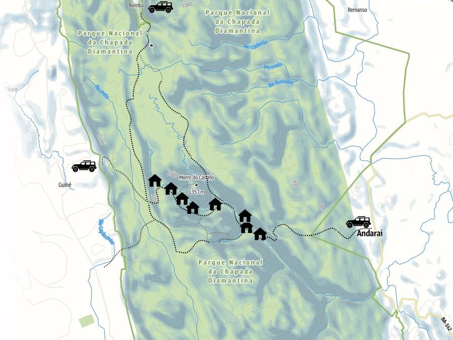 Mapa do Vale do Pati, Chapada Diamantina, Bahia